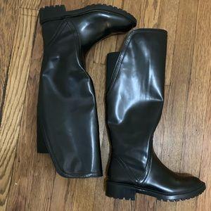 ZARA Lug Tall Soled Boots w/elastic at the back